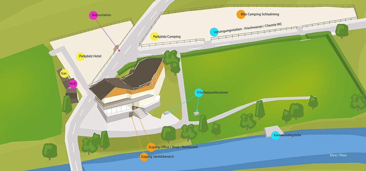 Camping Zirngast - Platzplan, Campingplatz in Schladming